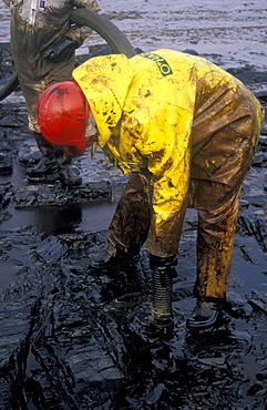 Oil clean up, West Angle Bay, Sea Empress oil spill