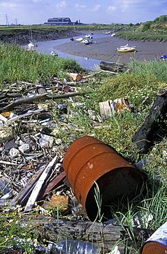Strandline pollution along the River Rhymney, Wales, UK     (rr)