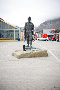 Miner statue, town land mark. Longyearbyen,  City Center, Svalbard, Norway