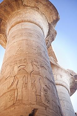 hieroglyphics columns, Karnak Temple Complex. Luxor, Nile Valley, Egypt, Africa