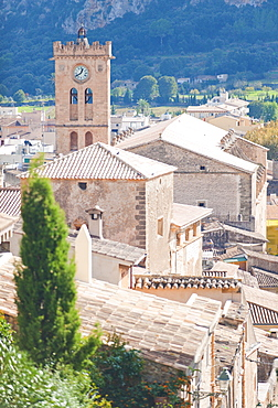 13th century church EsglŠsia de Nostra Senyora dels ·ngels (Our Lady of the Angels). Taken from the Calary steps Pollenca, Tramuntana, Mallorca, Spain, Europe