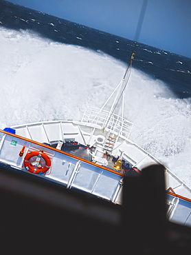 07/04/2009. Major sea swells and storms cause 4 -5 meter waves on board the Clipper Adventurer. Port hole room view. La Orotava, North Atlantic Ocean, Tenerife Island. Canary Islands