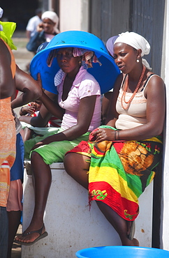 Local Markets, Girls. Praia, Assomada Village, Sao Tiago Island. Cape Verde