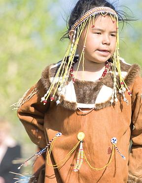 Girl of Koryaks peoples in native clothes, Ossora Village (Koryakskiy Peninsular) Russia, Asia