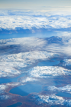 Aerial view of Greenland, West Coast Landscape. Kangerlussuaq, Sondre Stromfjord, Greenland (Denmark), North America