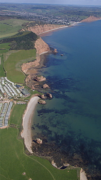 ladrom bay with Sidmouth in background. Devon, UK
