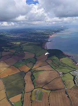 Paramotoring  over Devon looking over Sidmouth. Devon Uk