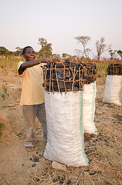Charcoal makers selling charcoal on the side of the road, Zambia, Africa
