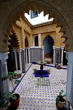 Courtyard in the Hotel Continental, Tangier, Morocco, North Africa, Africa