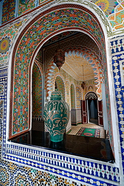 Richly decorated interior of the Hotel Continental, Tangier, Morocco, North Africa, Africa