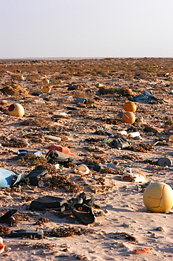 Litter washed up on the beach, Southern Morocco   (RR)