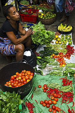 Vegetables on sale in the market of Sao Tome, Sao Tome and Principe, Africa