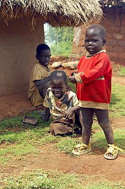Three Children playing outside a mud hut.  A construction commonplace for housing in Gulu, Northwest Uganda,. Gulu Town, Uganda, East Africa