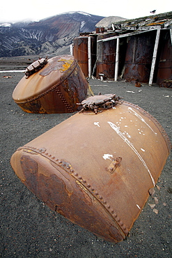 The old Norwegian whaling station at Whaler's Cove, Deception Island. The station ran from 1904 through 1931. Shown here are the old steam tanks used for rendering.