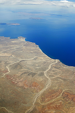 An aerial view of the Midriff region off the Baja Peninsula on the Gulf of California (Sea of Cortez) side. Baja California, Mexico