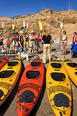Lindblad Expedition guests receiving kayaking lessons on the beach on Isla Angel de la Guarda in the upper Gulf of California (Sea of Cortez), Baja California Norte, Mexico