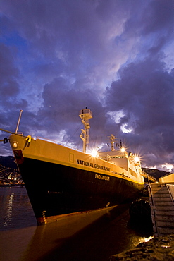 The National Geographic Endeavour in pre-dawn light in the harbor at Funchal, Madeira, Portugal