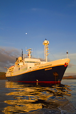 The Lindblad Expedition ship National Geographic Endeavour at sunrise operating in the Galapagos Islands, Ecuador