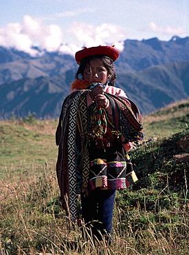 Peruvian Girl. Traditional dress, near Cusco.
