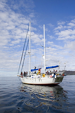 """Research boat.  """"Silurian"""" is the research boat of the Hebridean Whale and Dolphin Trust, based in Tobermory, Isle of Mull.  Hebrides, Scotland - 988-165"""