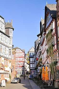 Medieval buildings on Mainzer street viewed from the Market square, Marburg, Hesse, Germany, Europe