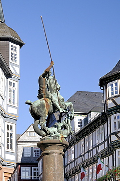 Statue of St. George slaying the dragon, Market Square, Marburg, Hesse, Germany, Europe
