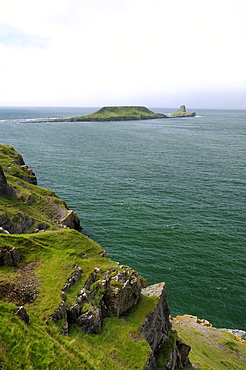 Worm's head peninsula, Rhossili Bay, The Gower, Wales, United Kingdom, Europe