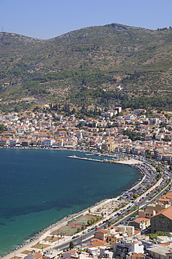 View over Samos harbour and town, Isle of Samos, Eastern Sporades, Greek Islands, Greece, Europe